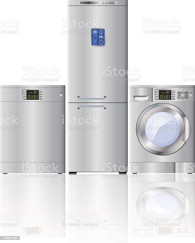 Set of modern household appliances. Refrigerator, dishwasher,  washing machine. vector art illustration