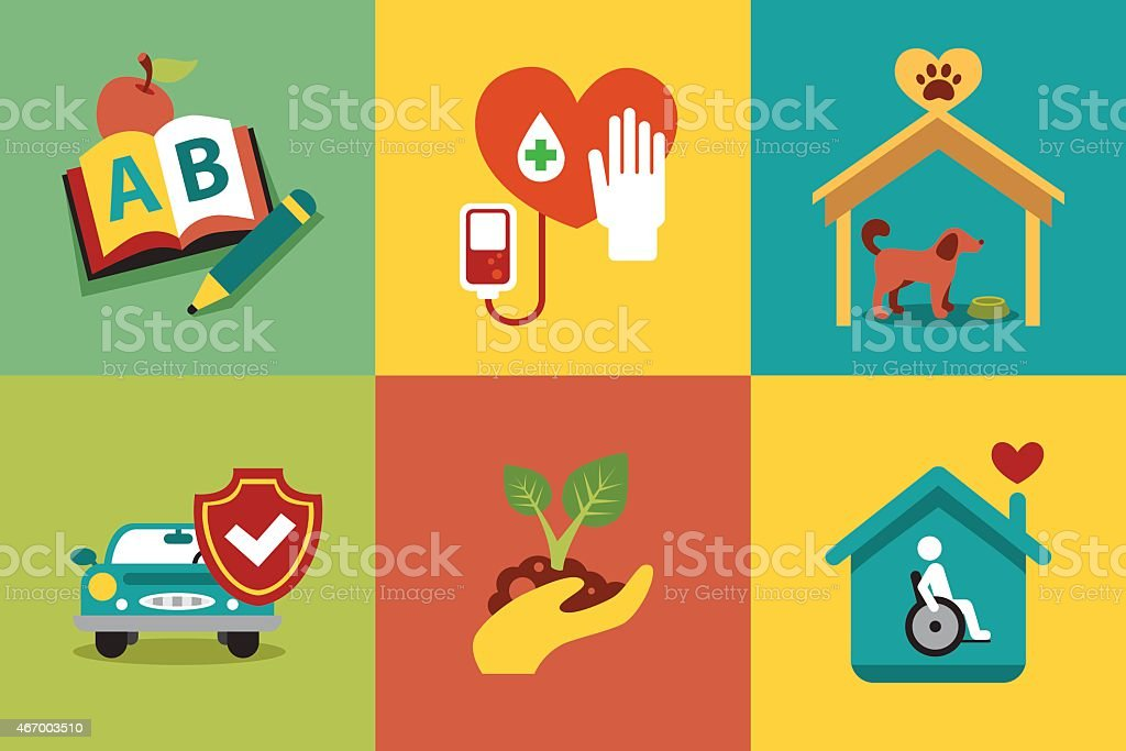 Set of modern icons in style flat on social issues vector art illustration