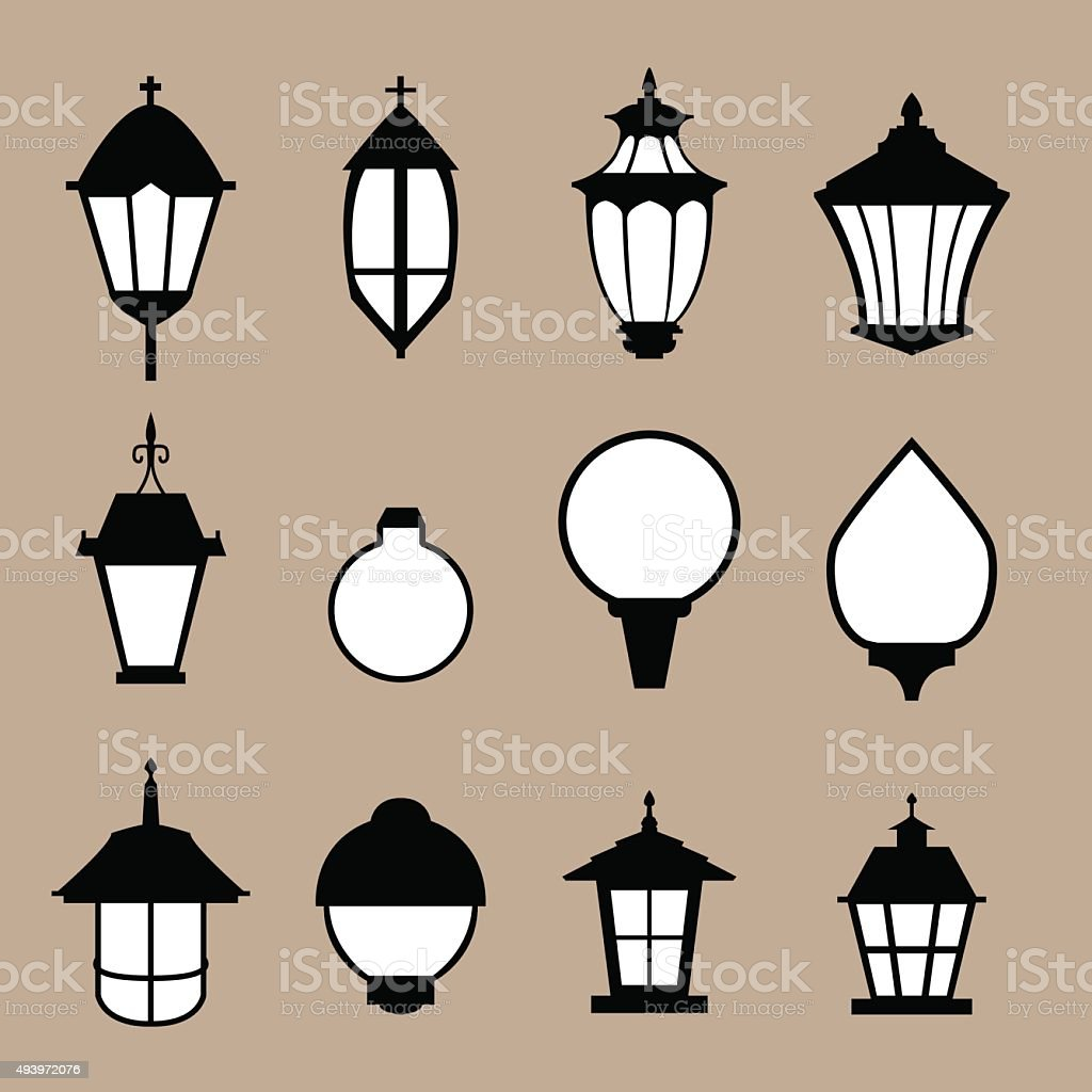 Set of modern lamp in flat style, isolated vector vector art illustration