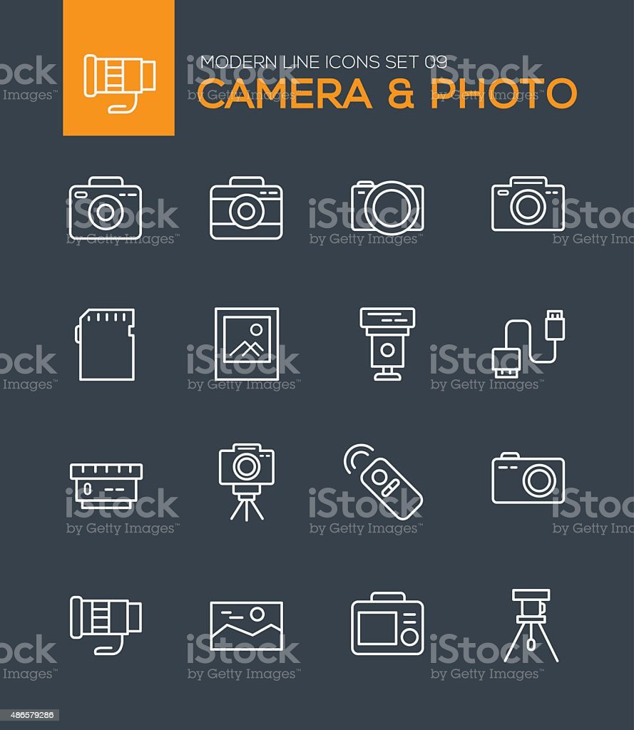 Set of Modern Line icons of Camera icons vector art illustration