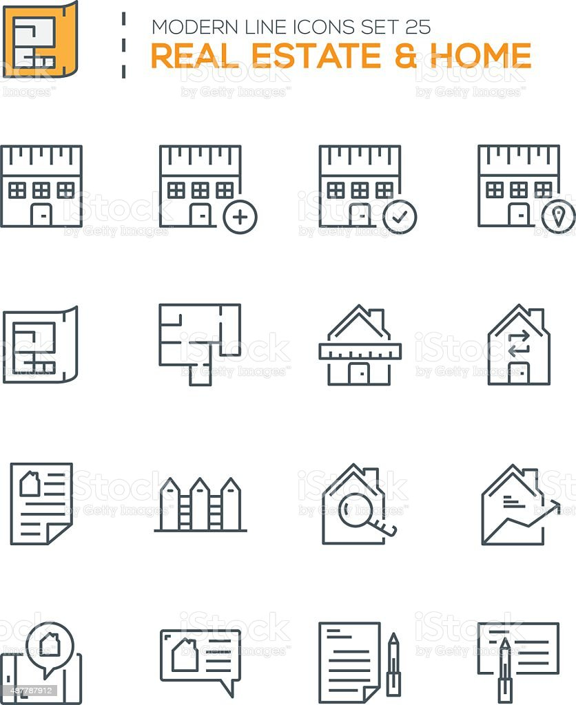 Set of Modern Line icons of Real Estate  icons vector art illustration
