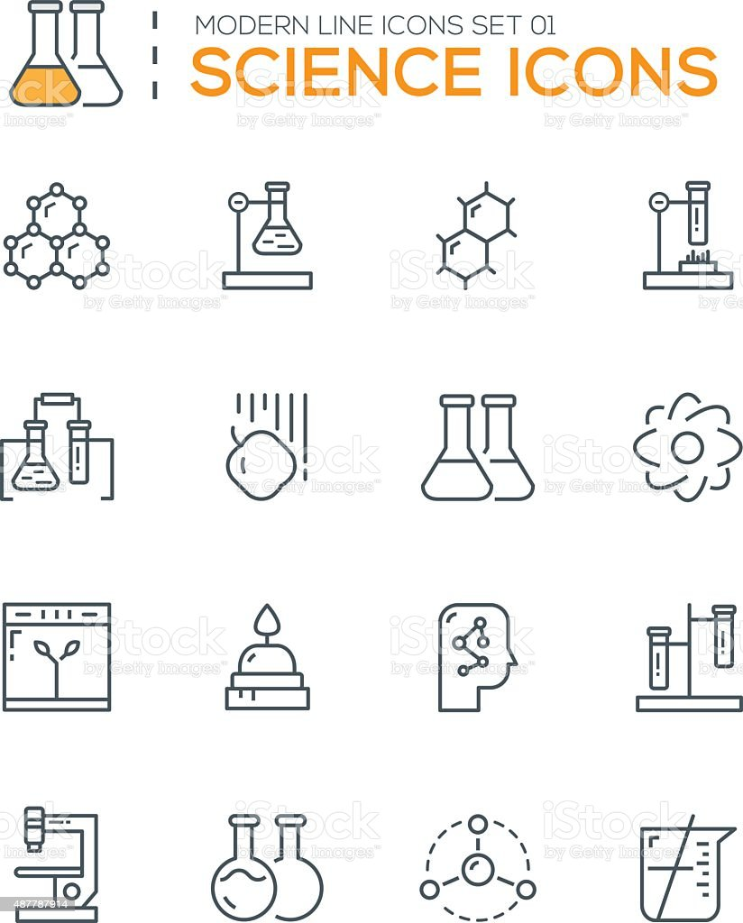 Set of Modern Line icons of Science icons vector art illustration
