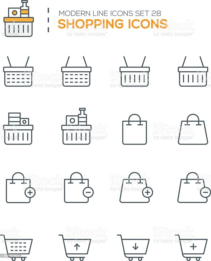 Set of Modern Line icons of Shopping icons vector art illustration