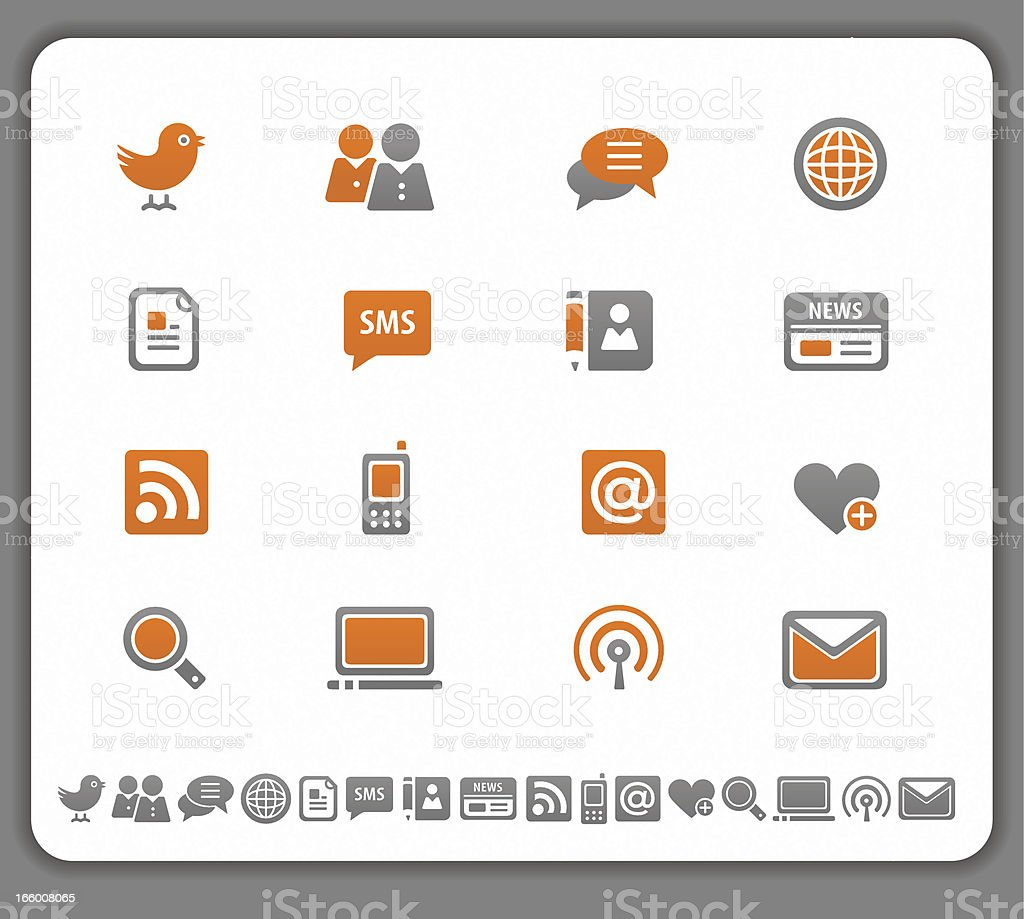 Set of modern media icons in orange and gray royalty-free stock vector art