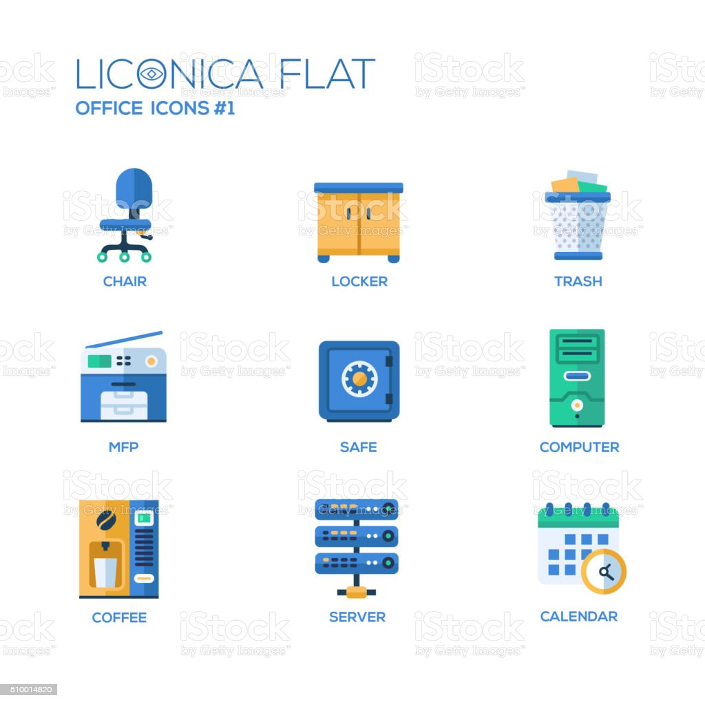Set of modern office flat design icons and pictograms vector art illustration