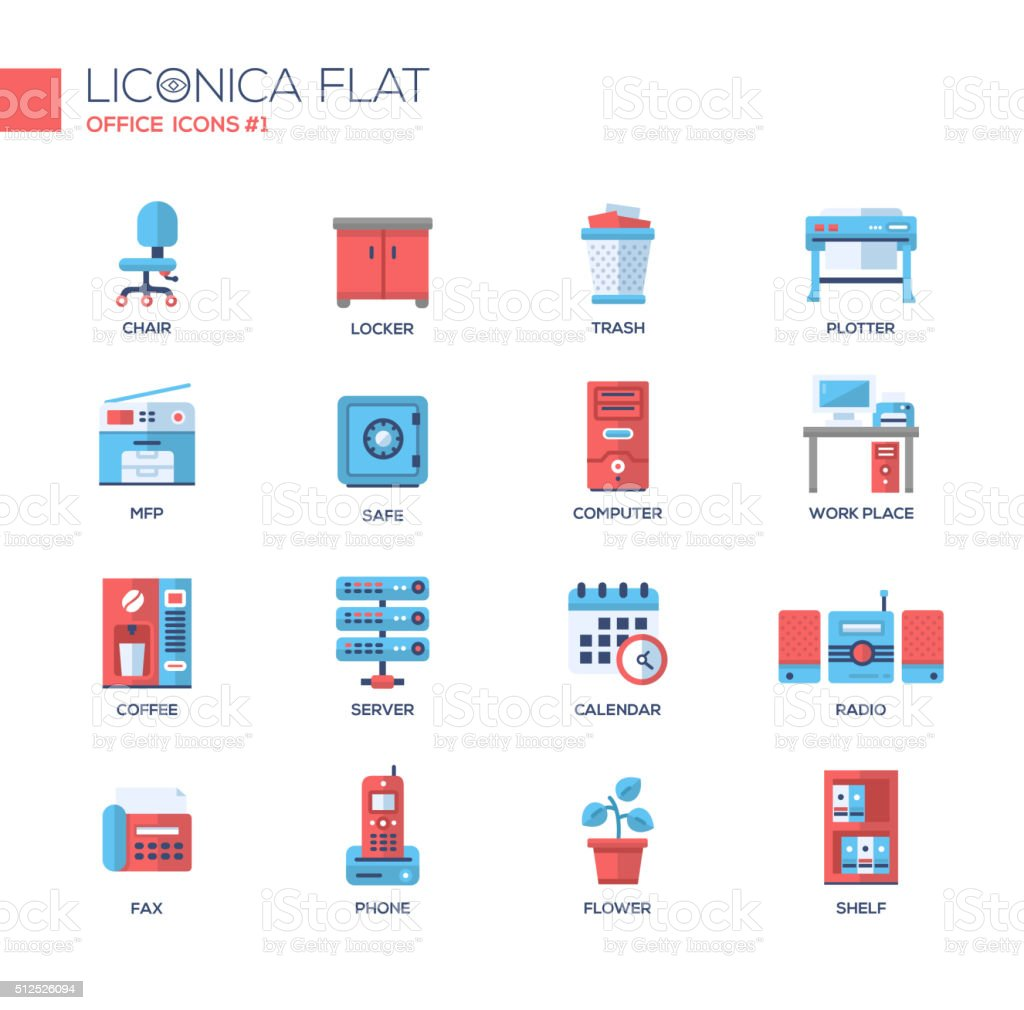 Set of modern office line flat design icons and pictograms. vector art illustration