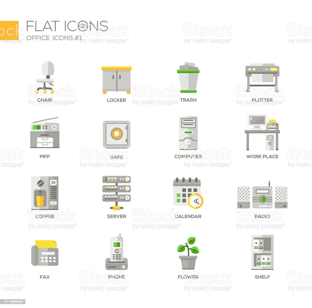 Set of modern office line flat design icons and pictograms vector art illustration