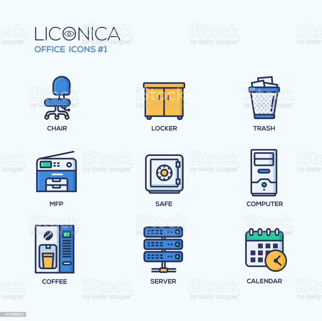 Set of modern office thin line flat design icons and vector art illustration