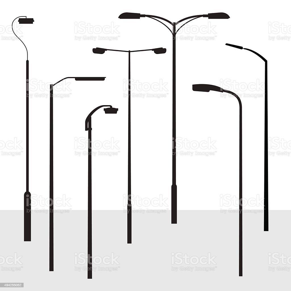 Set of modern road lantern silhouettes vector art illustration