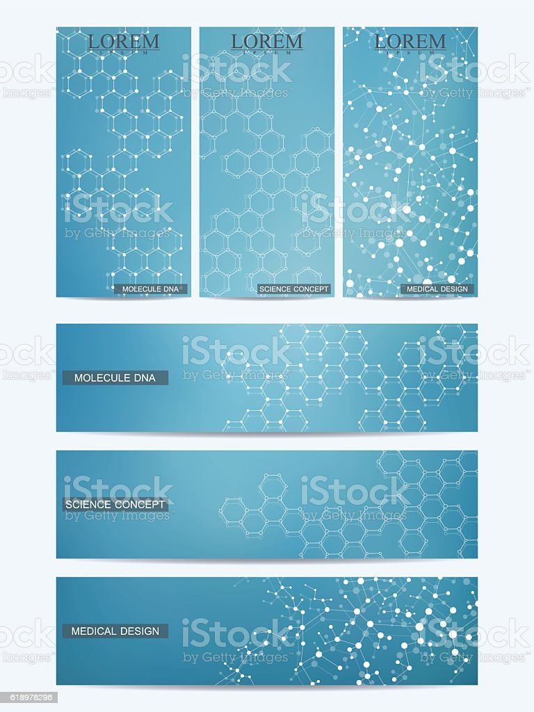 Set of modern scientific banners. Molecule structure DNA and neurons vector art illustration