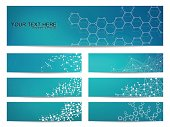 Set of modern scientific banners. Molecule structure DNA and neurons
