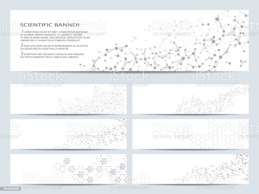 Set of modern scientific banners. Molecule structure DNA and neurons. Abstract background. Medicine, science, technology, business, website templates. Scalable vector graphics vector art illustration
