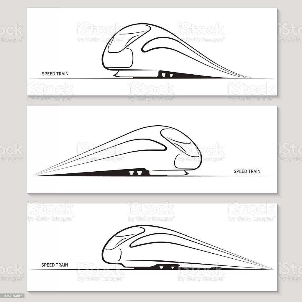 Set of modern speed train silhouettes and contours vector art illustration