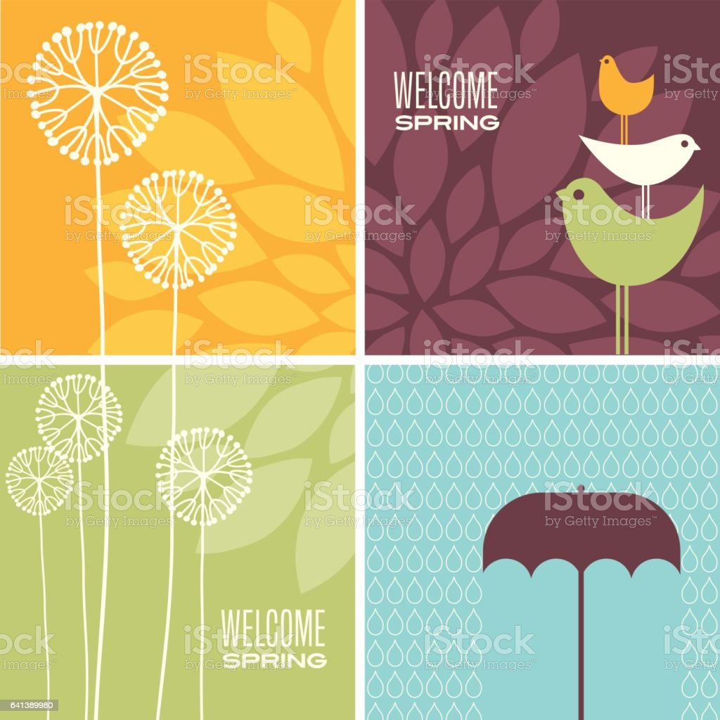 set of modern Spring designs for greeting cards, banners, stationary vector art illustration