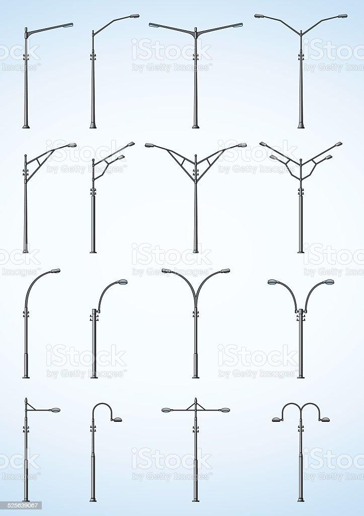 Set of Modern Street Light Lamps vector art illustration