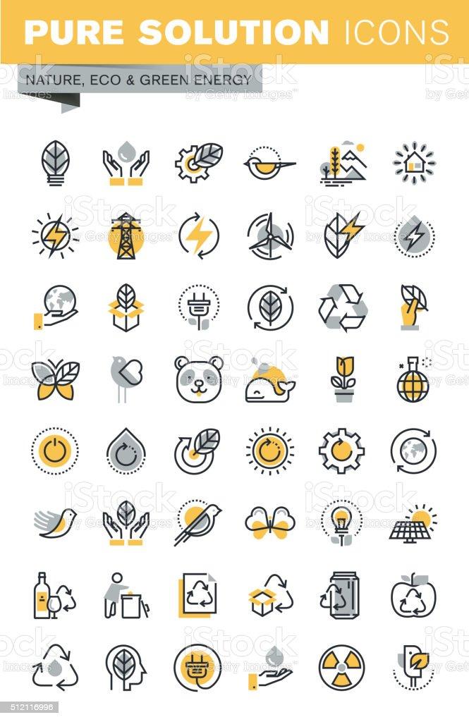 Conjunto de moderno delgada línea ecología iconos vectoriales illustracion libre de derechos libre de derechos