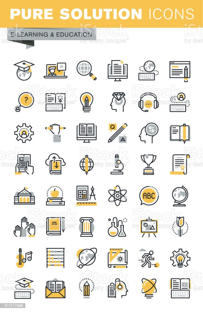 Set of modern vector thin line education icons vector art illustration