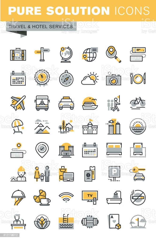 Set of modern vector thin line travel icons vector art illustration