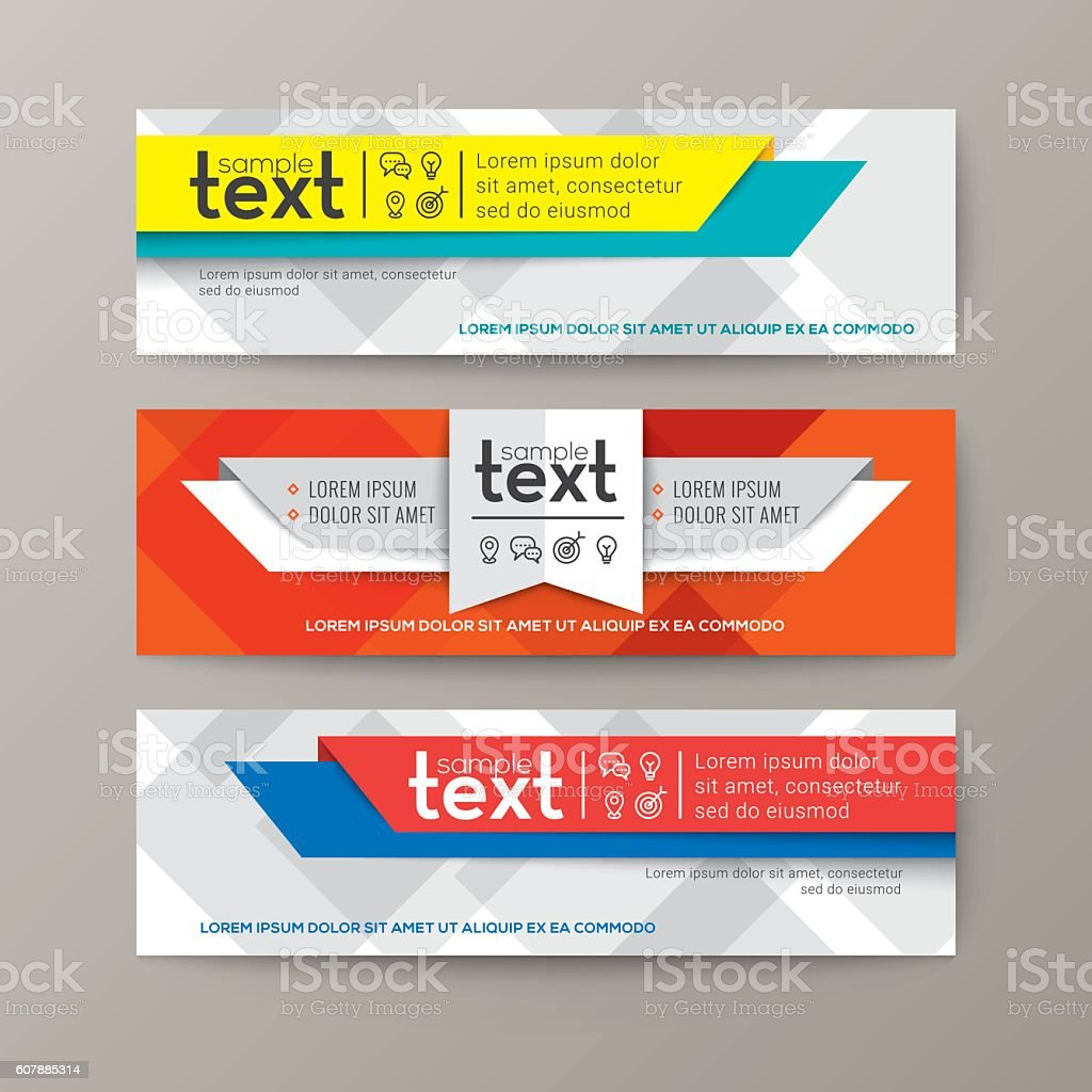 Set of modern web banners template with colorful abstract background vector art illustration