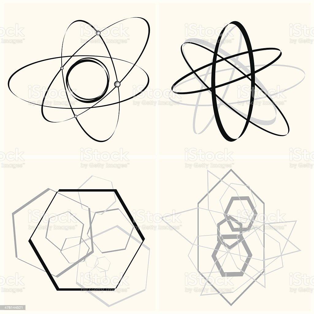 Set of  molecular vector art illustration