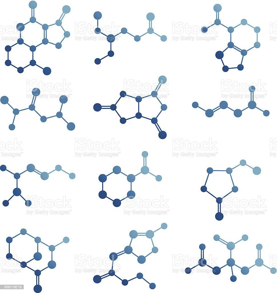 Set of molecules. vector art illustration