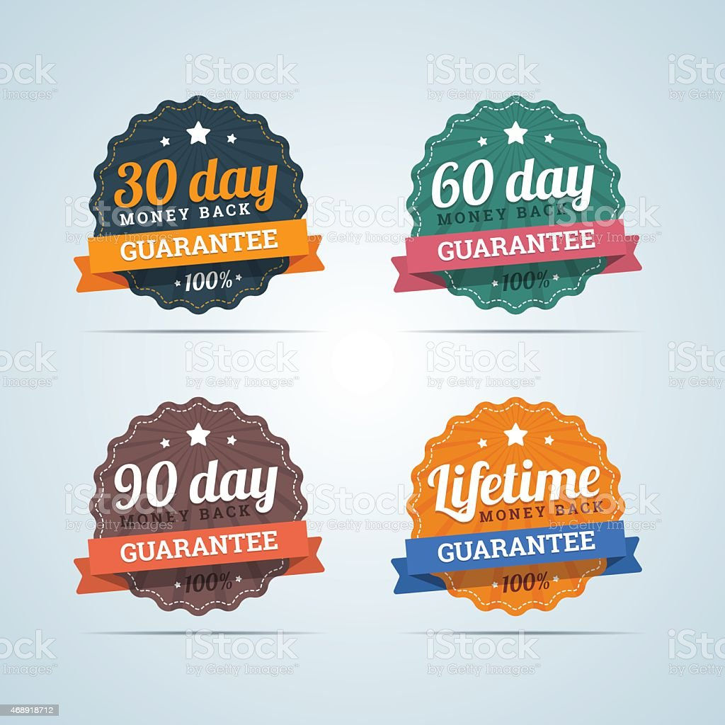 Set of money back guarantee badges in flat style. vector art illustration