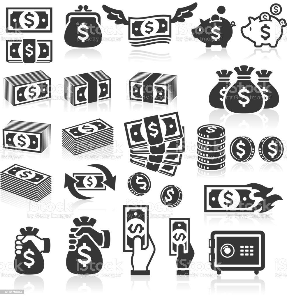 Set of money icons. vector art illustration