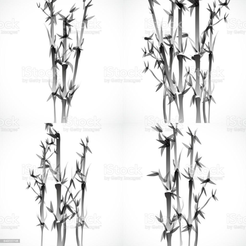set of Monochrome bamboo pattern vector art illustration