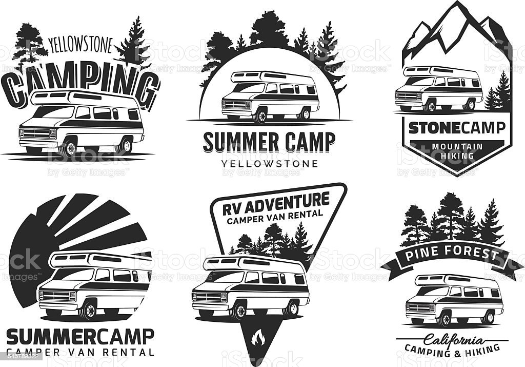 Set of monochrome camper van car emblems vector art illustration