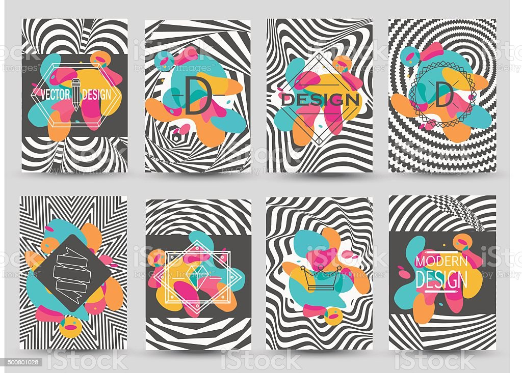 Set of monochrome flyer pages with abstract colored elements. vector art illustration