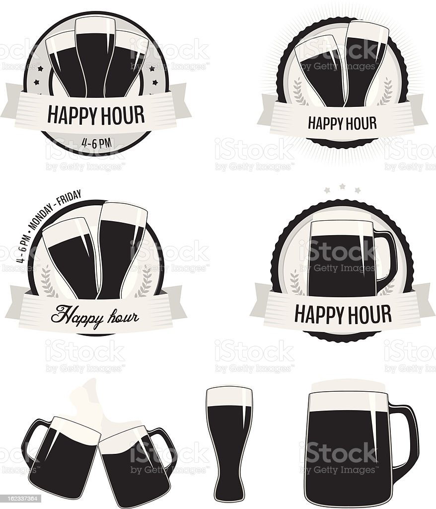 Set of monochrome happy hour labels and beer icons vector art illustration