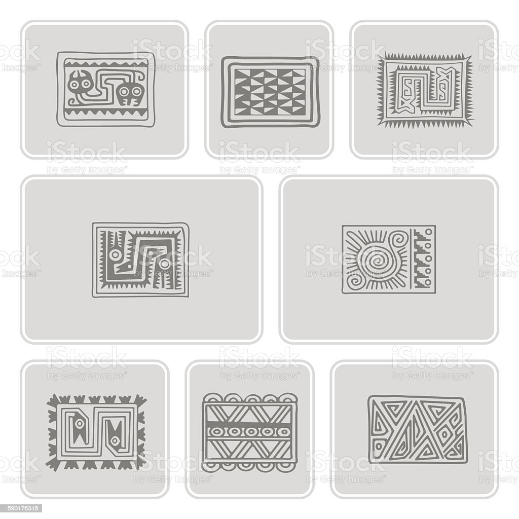 set of monochrome icons with Mexican relics dingbats characters vector art illustration