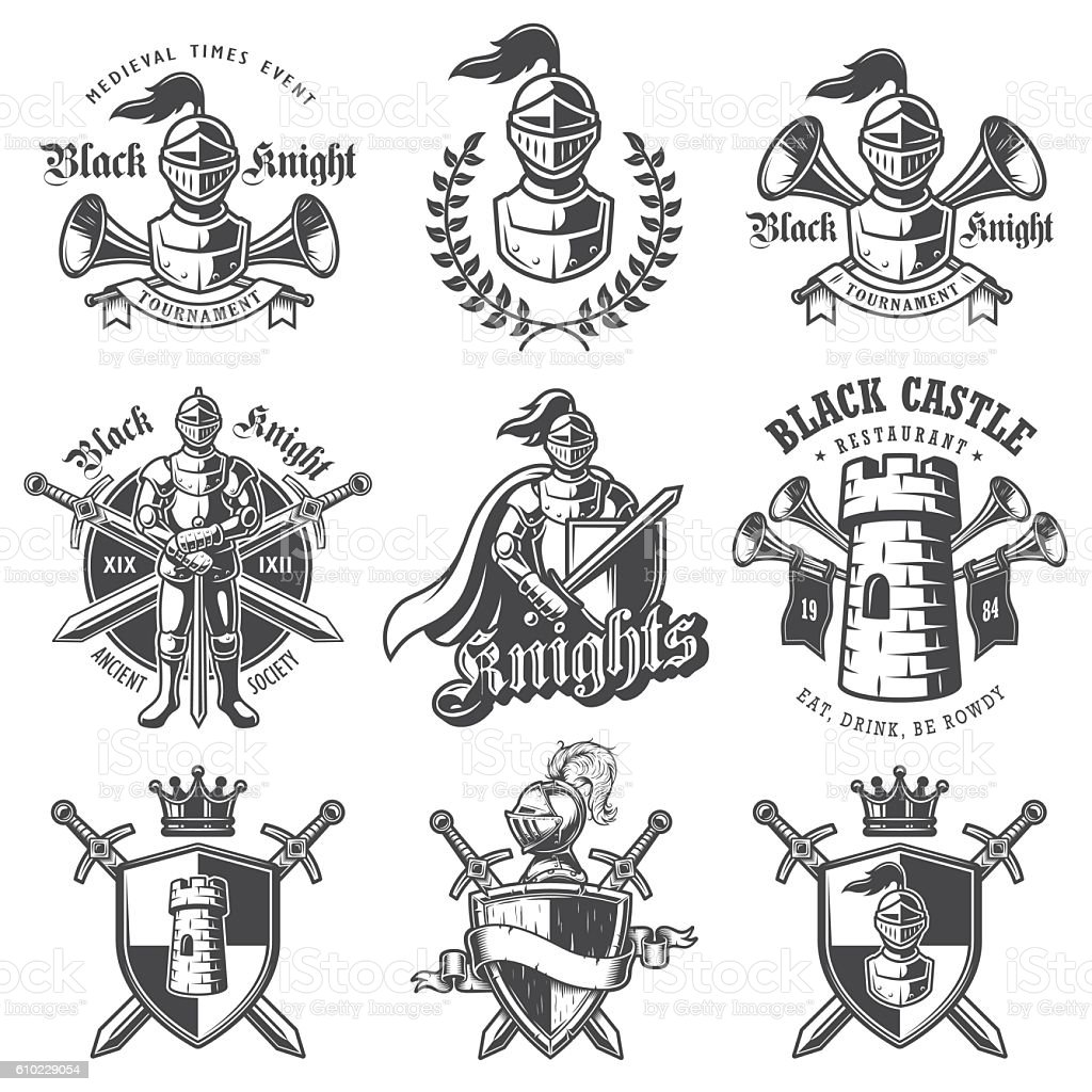 Set of monochrome knights emblems vector art illustration