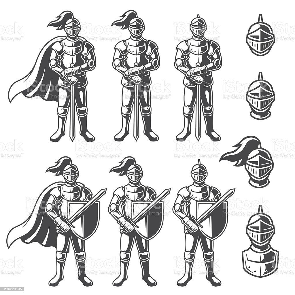 Set of monochrome knights vector art illustration