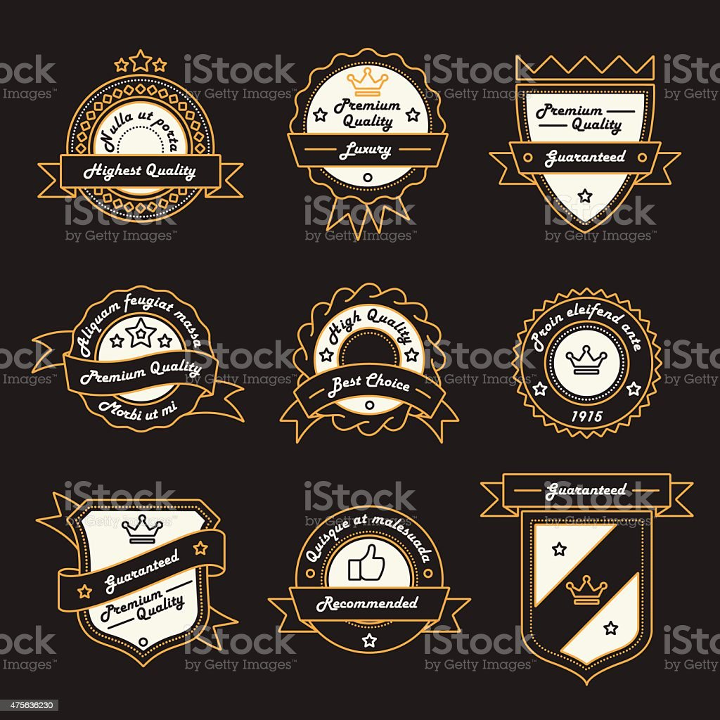 Set of Monochrome Label, Logo and Badge Templates vector art illustration