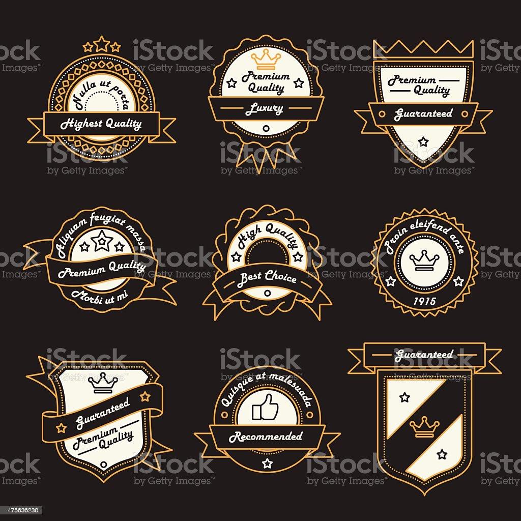 Set of Monochrome Label, Logo and Badge Templates vector art illustration