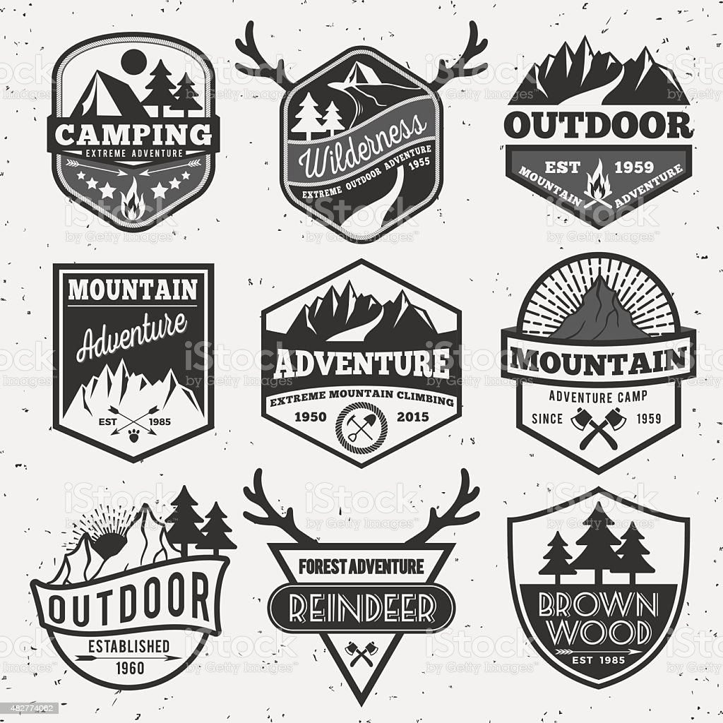Set of monochrome outdoor camping adventure and mountain badge logo vector art illustration