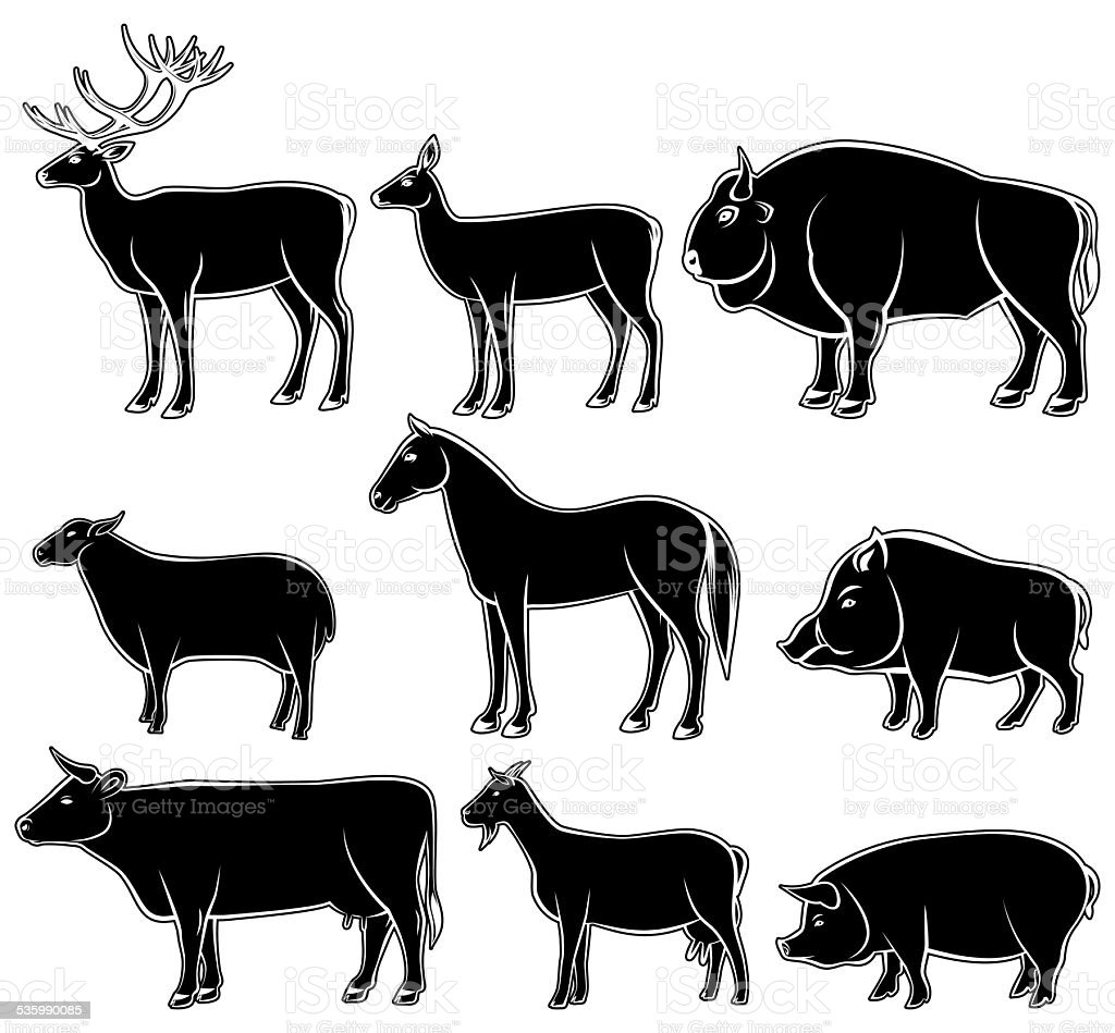 Set of monochrome wild and domestic animals vector art illustration