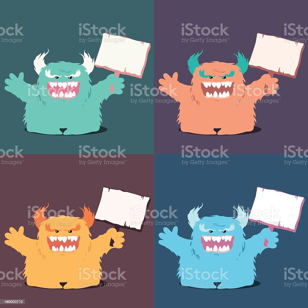 Set Of Monster Holding A Sign vector art illustration
