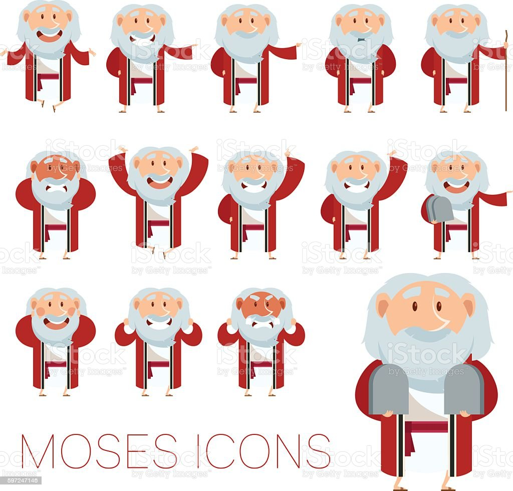 Set of Moses icons vector art illustration