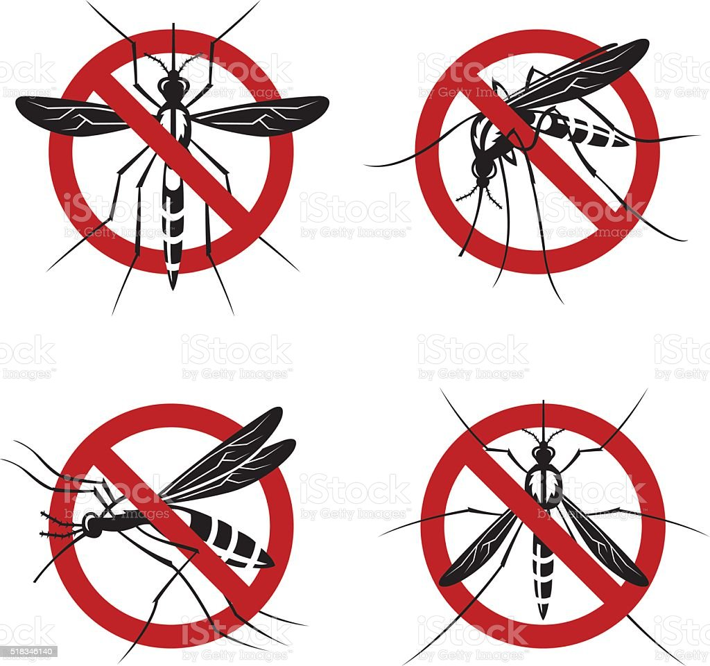 set of mosquito sign vector art illustration