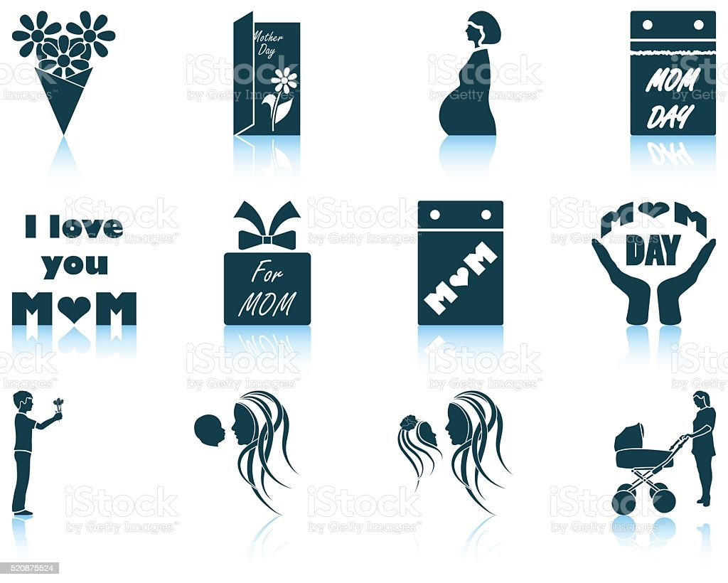 Set of Mother's day icons vector art illustration