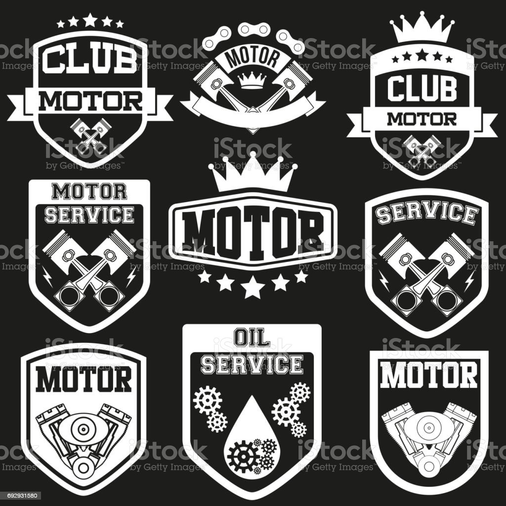 Set of Motor Club Signs and Label vector art illustration