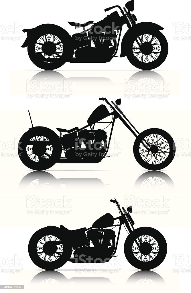 set of motorcycle silhouettes vector art illustration