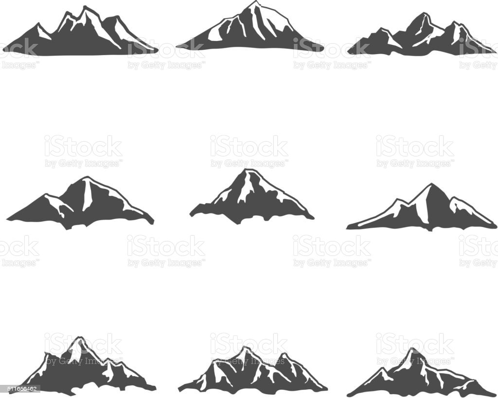 Set of Mountain Icons Vector Illustration vector art illustration