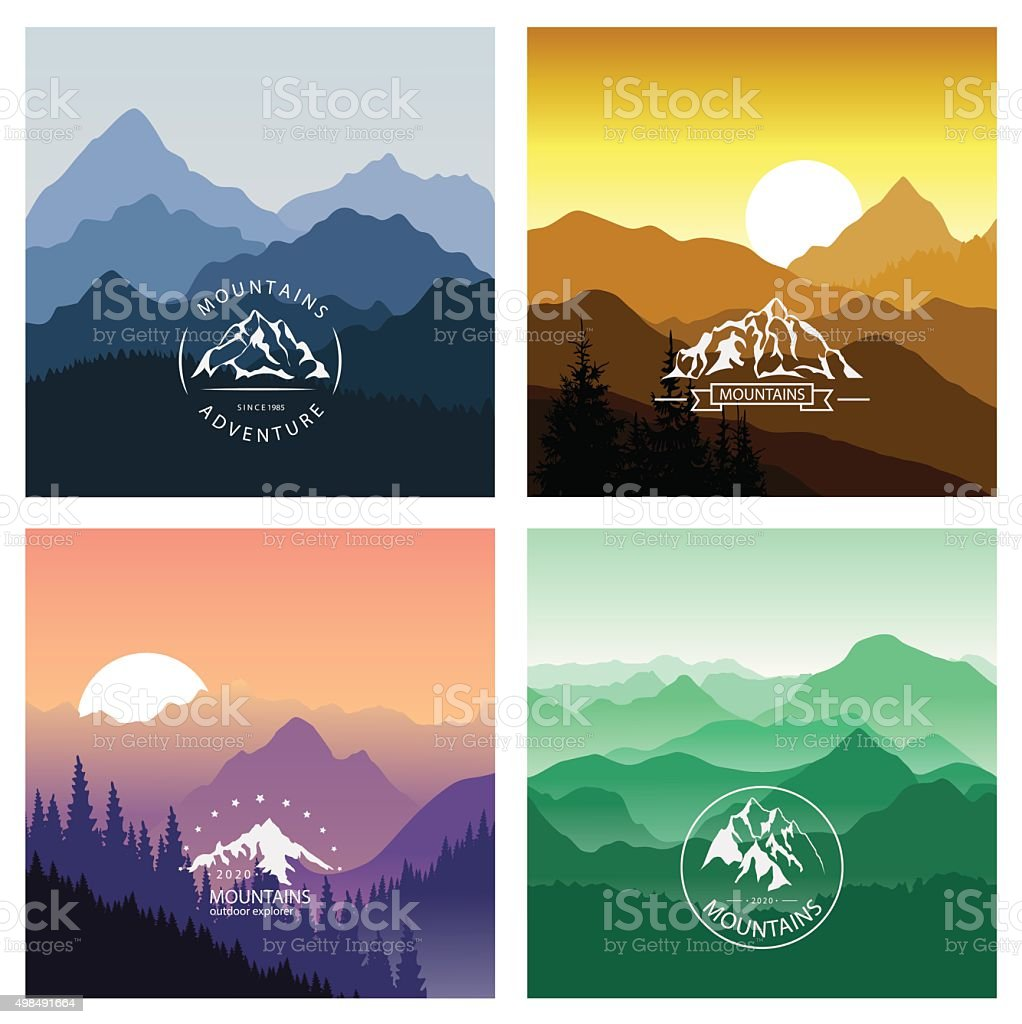 Set of mountain landscapes in different colors with emblems. vector art illustration
