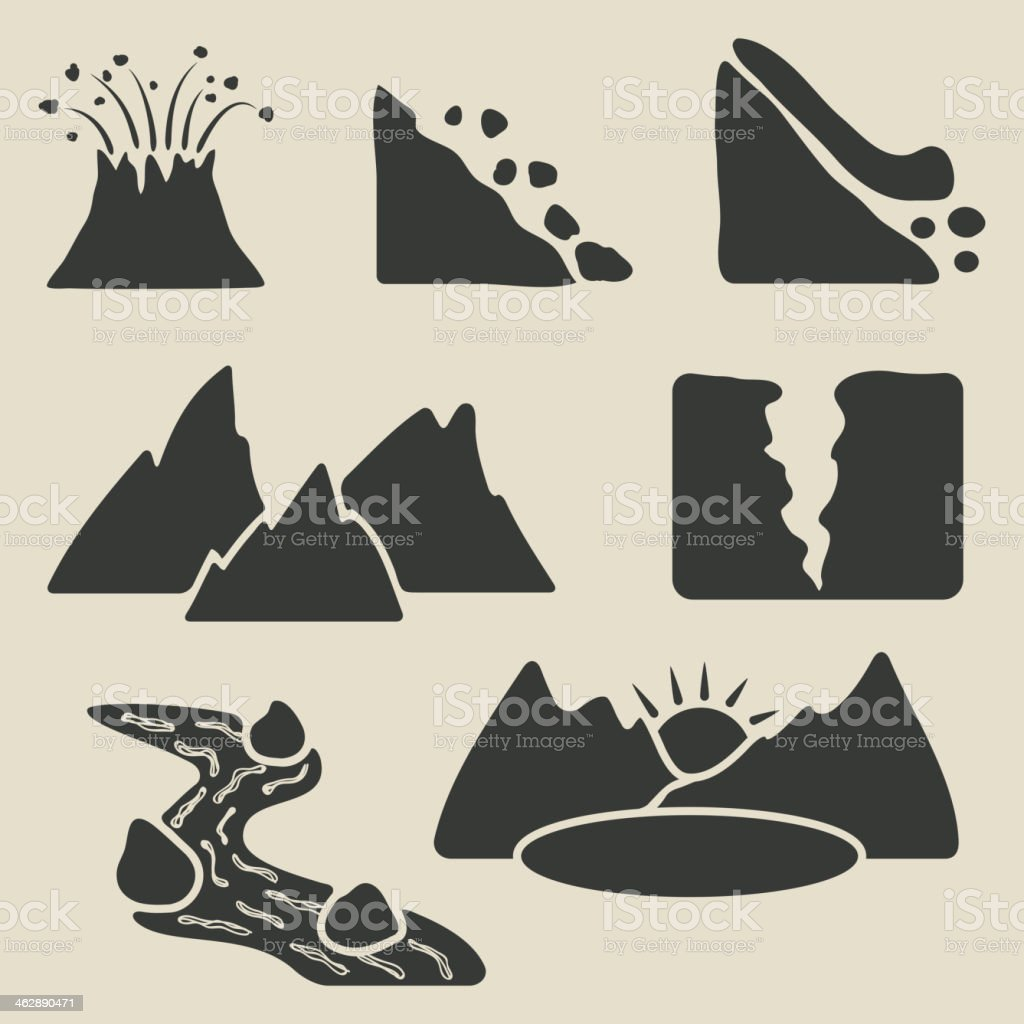 set of mountains icons vector art illustration