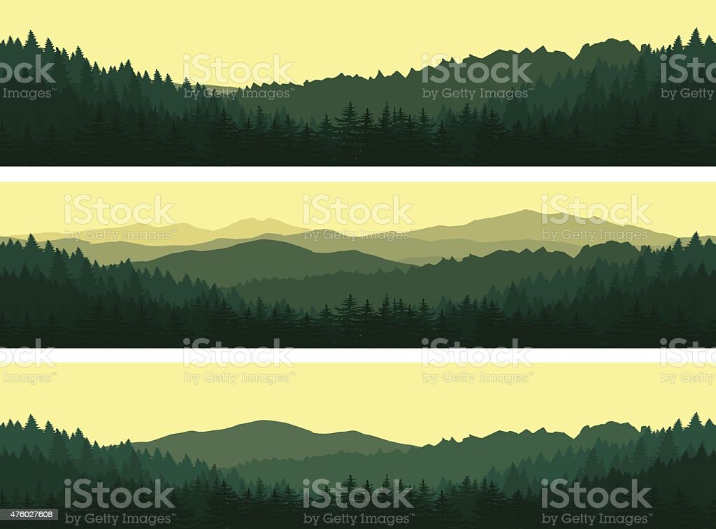 Set of mountains seamless backgrounds. vector art illustration