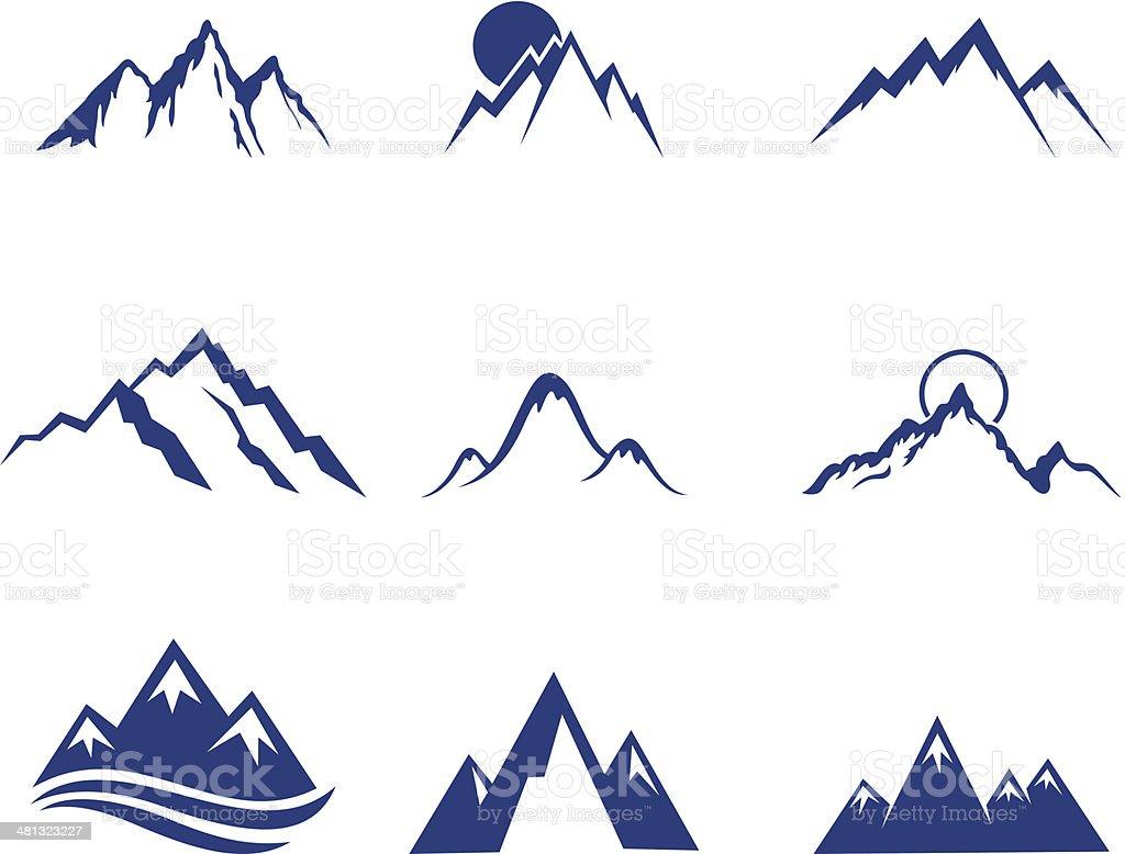 Set of mountains vector art illustration