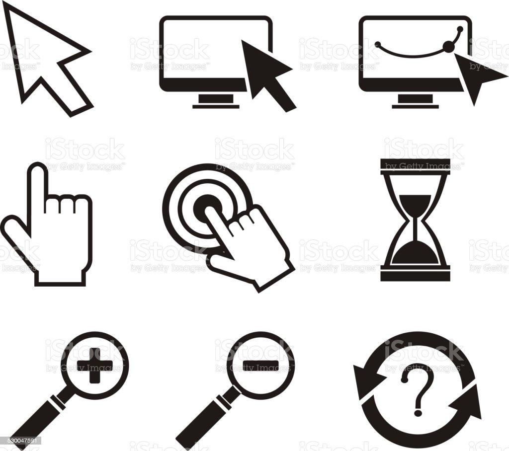 Set of mouse cursors hand cursor hourglass vector art illustration